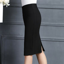 Sexy!Women Stretch OL High Waist Straight Solid Business Pencil Dress Midi Skirt