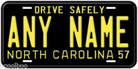 North Carolina 1957 Aluminum Any Name Novelty Car Auto License Plate