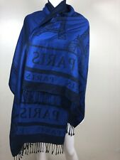 Silk Shawl Scarf Blue Black Paris Eiffel Tower Fringe