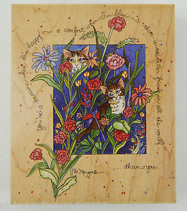 """2 Cats in Flower Bed You're A Treasure #90050 Stamps Happen Kittens 4.5"""" x 5.5"""""""
