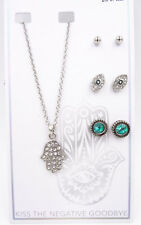 12 New Wholesale Evil Eye Hamsa Necklace Earring Sets #n2294-12