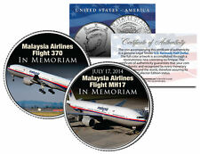 MALAYSIA AIRLINES FLIGHT 370 & MH17 In Memoriam JFK Half Dollar Colorized Coin