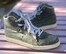 Gucci Green Patent Leather High Top Logo Sneakers 215071 Men's G 9/ US 10