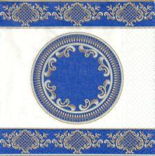 2 Serviettes en papier Décor Bleu Decoupage Paper Napkins blue Baroque