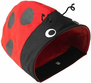 Petrageous® Designs Ladybug Crinkle Cat Cave easy clean canvas collapsible new