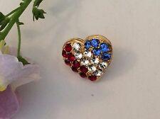 Vintage Heart brooch Lapel Hat Tie Pin Austrian Rhinestone Red Blue 15mm GIFT