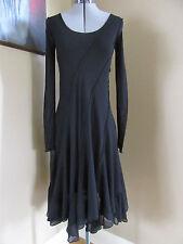 NWT Fuzzi Diagonal Tulle Black Long Sleeve Dress Size L