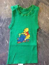 Baby Singlet Pooh Bear Size 00 Newborn Baby Gift Green