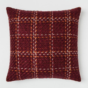 """BIG Burgundy Red Chunky Berry Woven Square Throw Pillow Decrorative 24"""" x 24"""""""