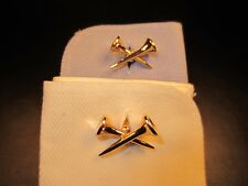 Vintage Criss Cross Double Golf Tee Yellow Gold Plated Cuff Links
