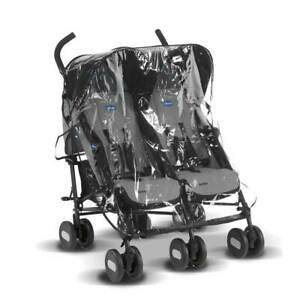 Raincover for Maclaren Twin Techno Pushchair, UK made from Clear Supersoft PVC