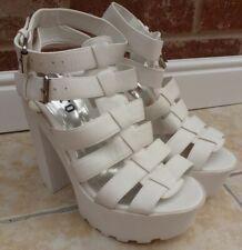 Retro WHITE Gladiator platform sandals SUPER CHUNKY HIGH HEEL shoes UK 5 EU 38