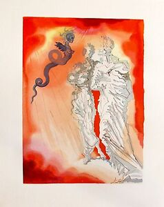Salvador Dali 1960 DIVINE COMEDY INFERNO #21 Color Woodcut Wood Block Engraving