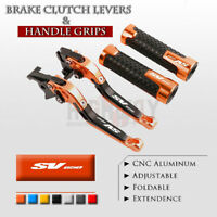 Adjustable Folding Brake Clutch Levers Handle Grips Set for Suzuki SV650 16-19