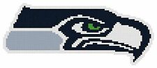 Counted Cross Stitch Pattern, Seattle Seahawks Logo - Free US Shipping