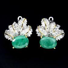 Ohrringe Smaragd & CZ 925 Silber 585 vergoldet