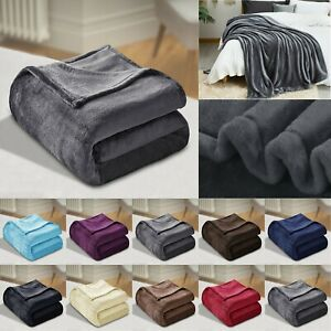 Winter Warm Soft Plain Fleece Throw Over Large Decorative Sofa Bed Blanket Solid
