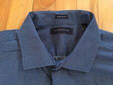 TOMMY HILFIGER Men's Navy Blue & White Polka Dot Dress Shirt - Sz XL, 17 34/35