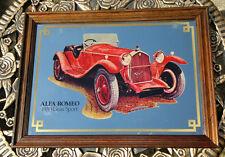 "Large Vintage Mirror Alfa Romeo 1930 Grand Sport-  Pub Mirror 19"" by 14"""