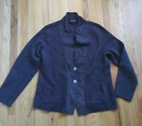Eileen Fisher Blazer Jacket Womens Large Brown Merino Wool Lamb Leather
