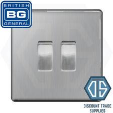 BG Screwless Brushed Steel 2 Gang Switch 1x Intermediate 1x 2 Way Custom Grid