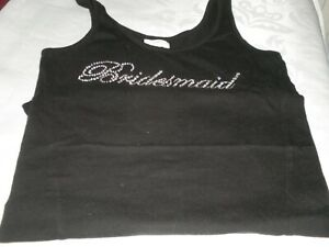 BLACK  'BRIDESMAID' LADIES T.SHIRT/VEST TOP  - SIZE 8