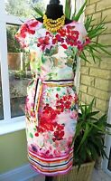 BNWT Stunning BANDOLERA Belted Floral Print Lined Shift Dress sz 10 (rrp £104)