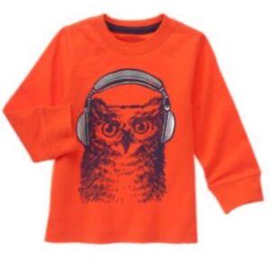 Gymboree Boy Owl Shirt Size XS 4 Orange MIX 'N' MATCH FALL '16 New