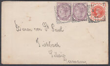 1898 QV 1d+1d+1/2d; John Laing & Sons Flap, London Squared Circle to Germany