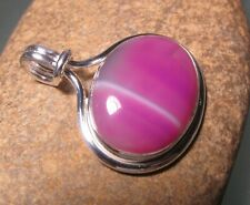 925 sterling silver cabochon oval pink agate pendant. Gift bag.