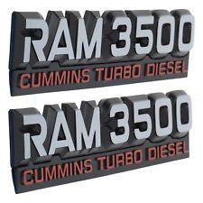 94-98 RAM 3500 CUMMINS TURBO DIESEL (2) EMBLEM NAMEPLATE BADGE OEM MOPAR