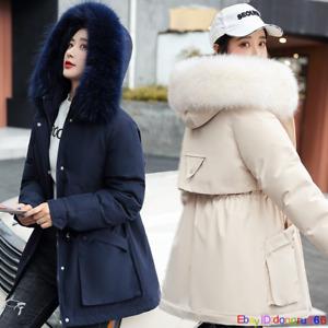 Womens Faux Fur Coat Hooded Parka Ladies Winter Fleece Lined Zip Outwear 8 Color
