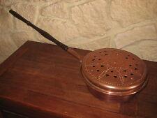 Ancien Bassinoire en cuivre de 29 cm de diamètre par 88 cm de long