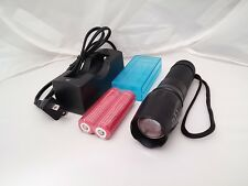 New 1000lm XML LED Flashlight w/2pc protected 18650 battery (2pack)