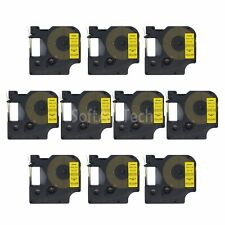 """10pk Black on Yellow Label Tape Compatible for DYMO 45018 D1 12mm 1/2"""""""