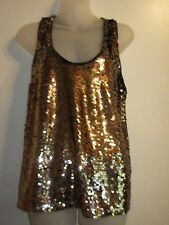 d2f7176c5e0f05 Forever 21 M Top Reversible Heavy Leopard Print Sequin Tank Top Metallic  Shiny