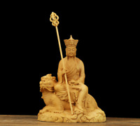 "4.3"" Chinese Box-wood Hand Carving Ride Beast Ksitigarbha Boddhisattva Statue地藏王"