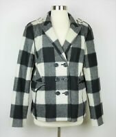 Banana Republic Women's XL  Black gray & beige plaid wool pea coat jacket collar