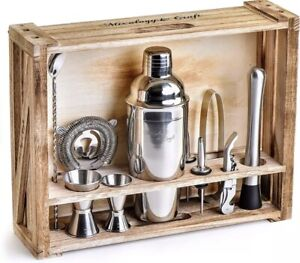 Mixology Bartender Kit: 11-Piece Bar Tool Set w/ Rustic Wood Stand New Sealed