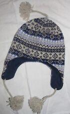 Berkshire Fashions Women's Wool Ski Snow Hat OSFM Blue Knit Ear Flaps Tassels