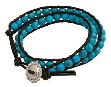 Montana Silversmiths - Leather Wrap Bracelet / Turquoise Crystal ( BC1364 )