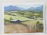 Distant Valley Wales landscape Original Watercolour Painting Farm Mountains 8