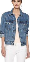 Levi's Women's Ex-Boyfriend Trucker Jacket's Jacket in Concrete Indigo Size M