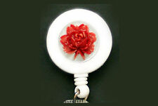 RED ROSE Retractable Reel ID Card Security Badge Holder Key Chain Ring 3D White