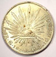 1835-Go PJ Mexico Republic 8 Reales Coin (8R) - Choice AU / UNC Details - Rare!