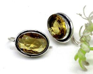 "Yellow Citrine Gemstone 925 Sterling Silver Handmade Jewelry Earrings Size-1"""