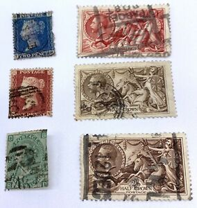 1913 and 1840 Lof of 6 Great Britain Variety Stamps Blue BTTB Two pence