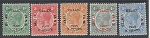 BITISH HONDURAS 1932 BELIZE RELIEF FUND KGV SET