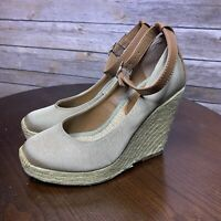 """BCBGeneration Women's Gold/Brown Strappy Rope Wrapped 4"""" Wedges Sz 6M"""