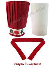 4pcs Hibachi Chef Hat Set, Hibachi Chef Red Tall Hat, Headband, tie, plastic Net